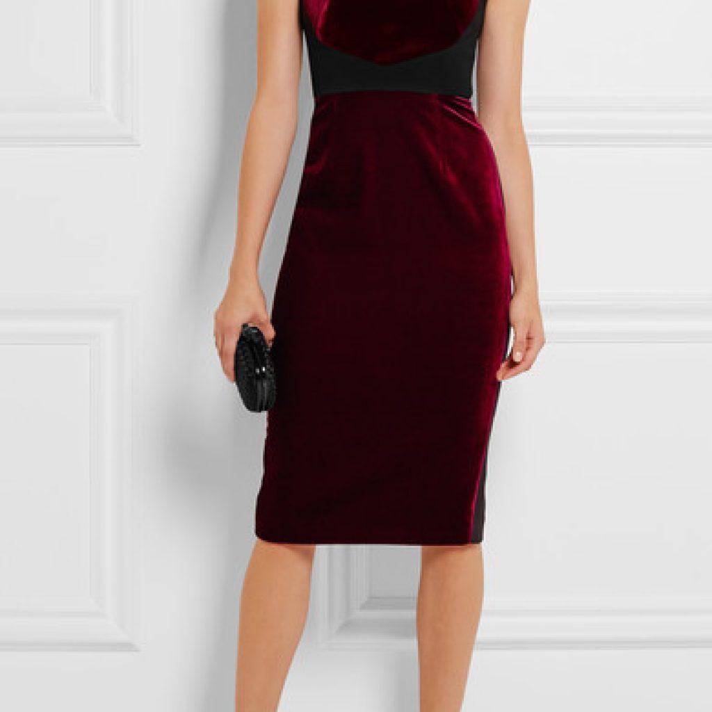 Бордовое платье футляр из велюра