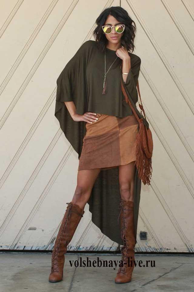 Коричневая юбка в луке с кардиганом цвета хаки