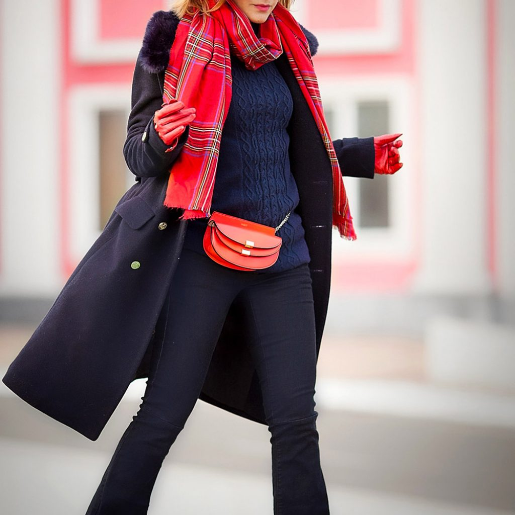 flarejeans-navycoat-plaidscarf-winterstreetstyleideas