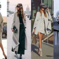 Серое пальто с чем носить уличная мода