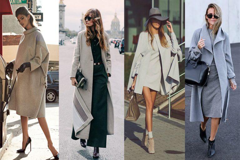 Пальто серого цвета с чем носить