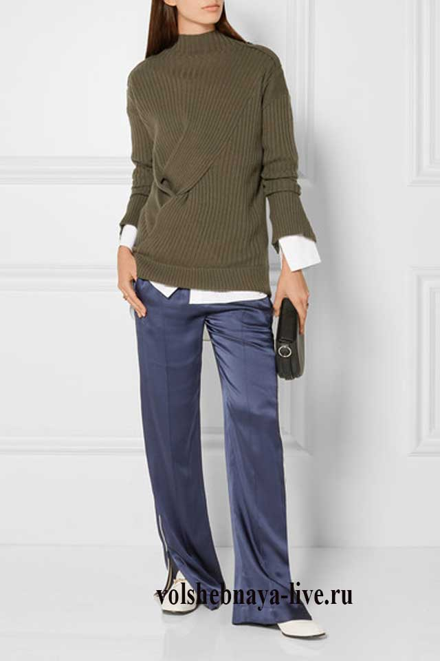 Сочетание синего с хаки в одежде