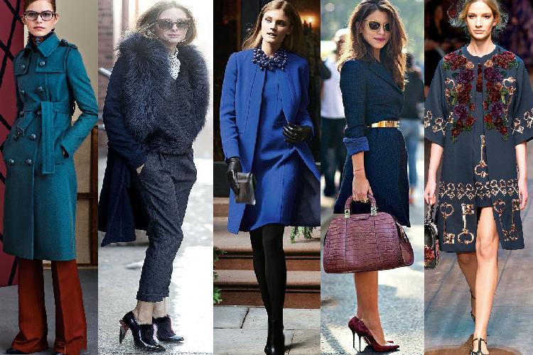 образы с синим пальто фото