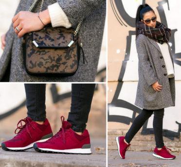 бордовые кроссовки с чем носить