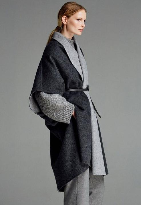 темно серое пальто оверсайз