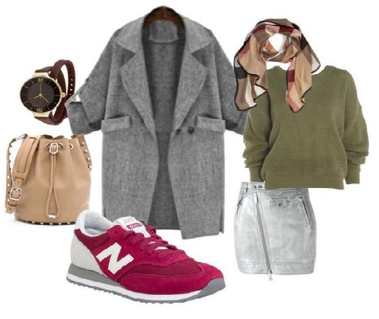 серое пальто оверсайз с кроссовками марсала