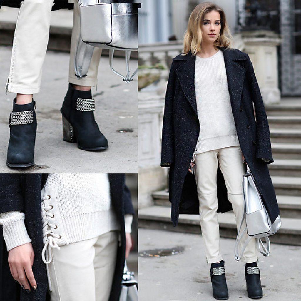 образ серого пальто и белого костюма