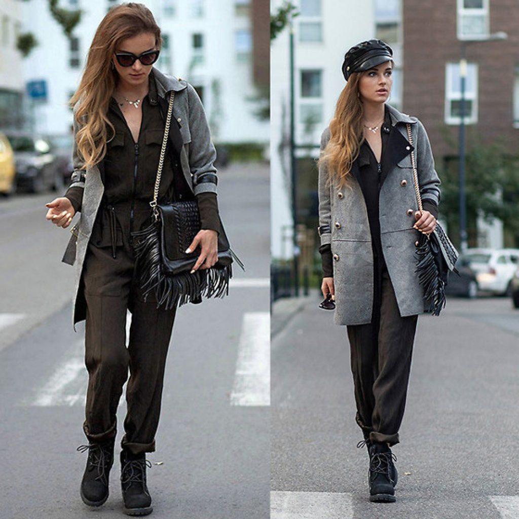 серое пальто в милитари стиле образ