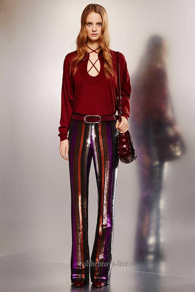 Модные брюки с пайетками в полоску