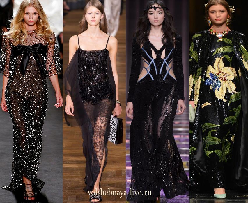 черные платья с пайетками длинные фото