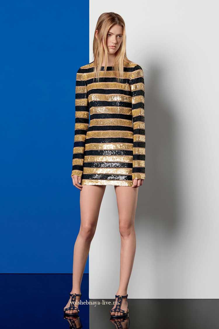Золотое платье в полоску с пайетками