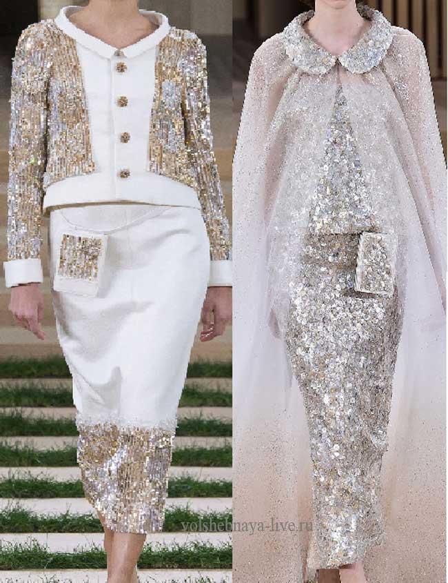нарядное белое платье с пайетками