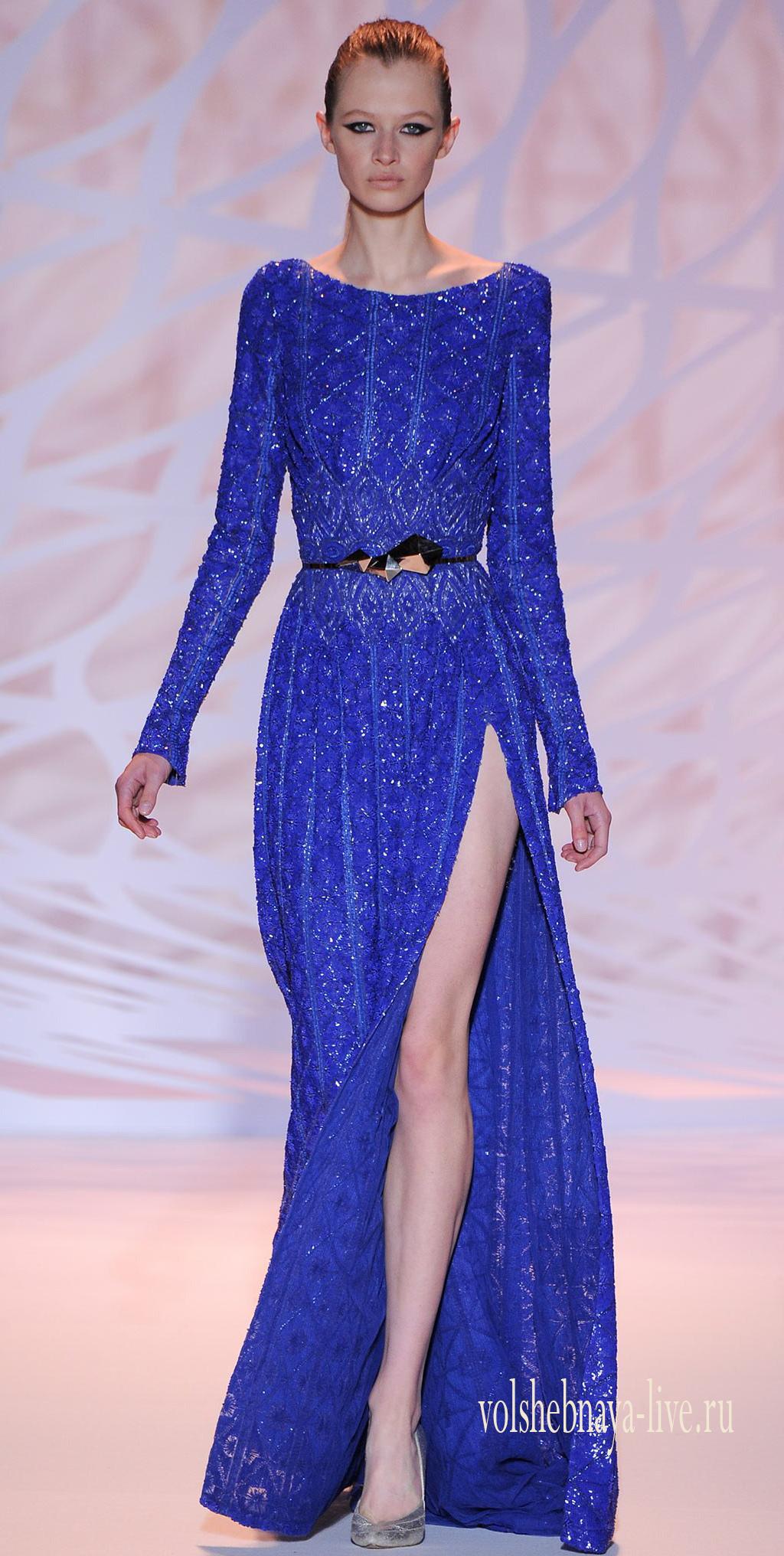 синее вечернее платье с блестками в пол