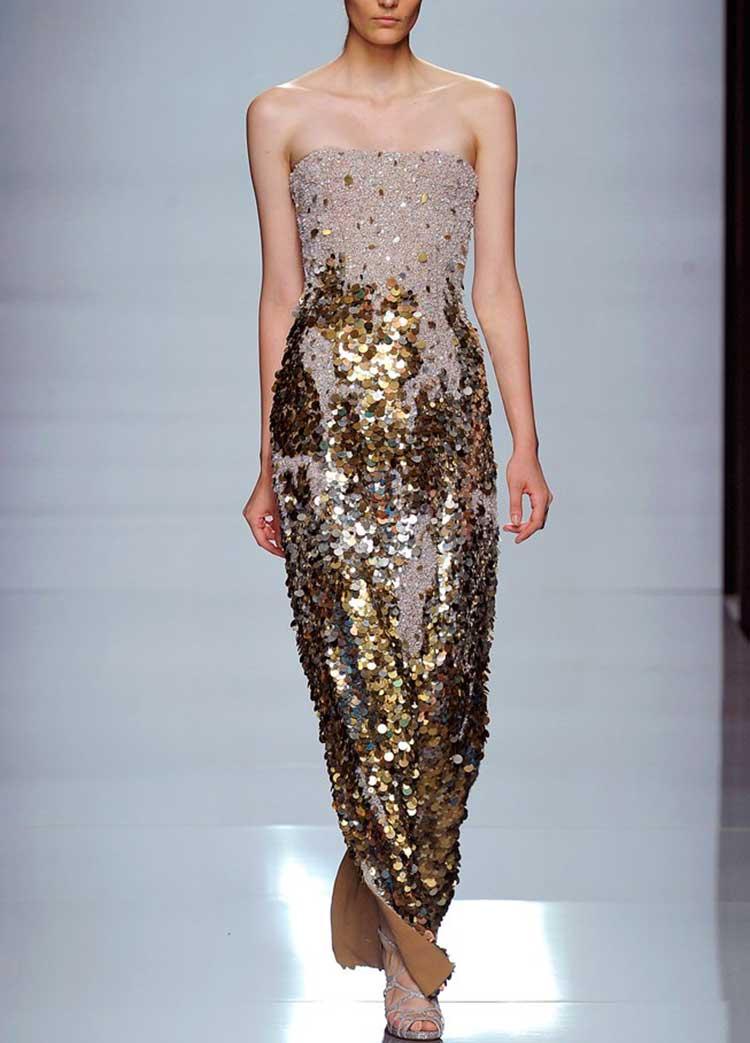 Отрытое платье золотое с пайетками