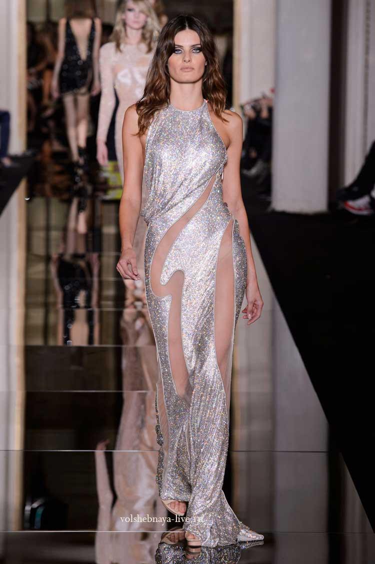 блестящее платье серебряного цвета