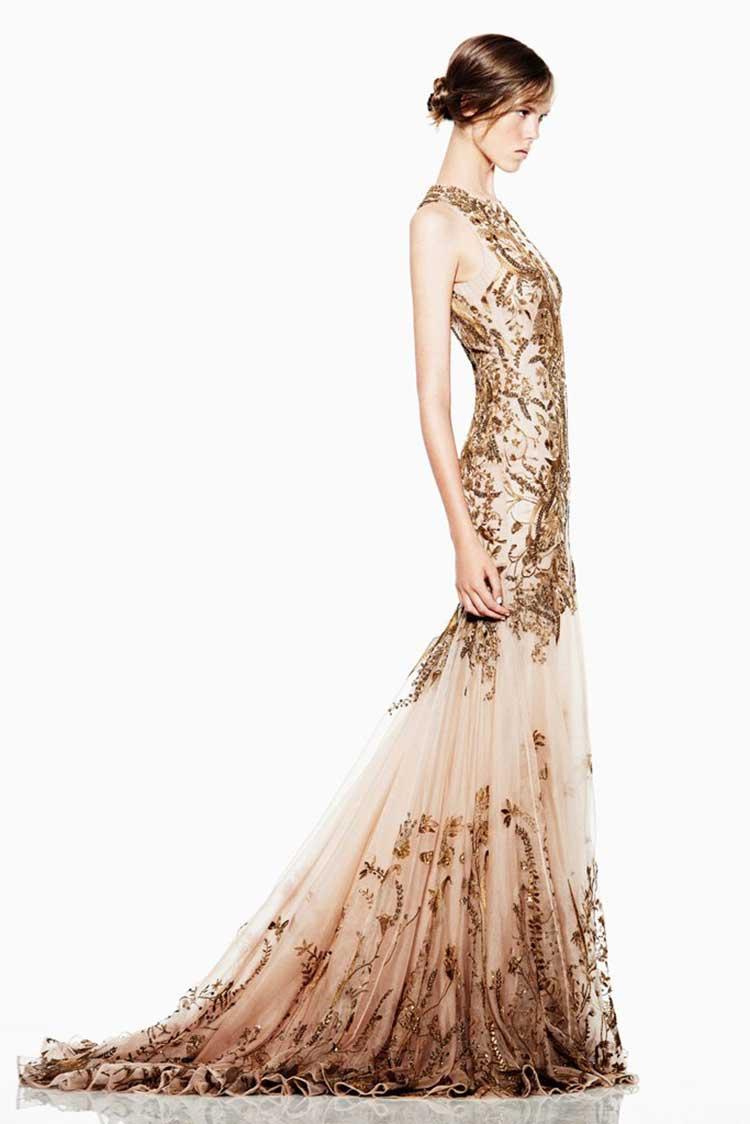 Свадебное платье с золотыми пайетками