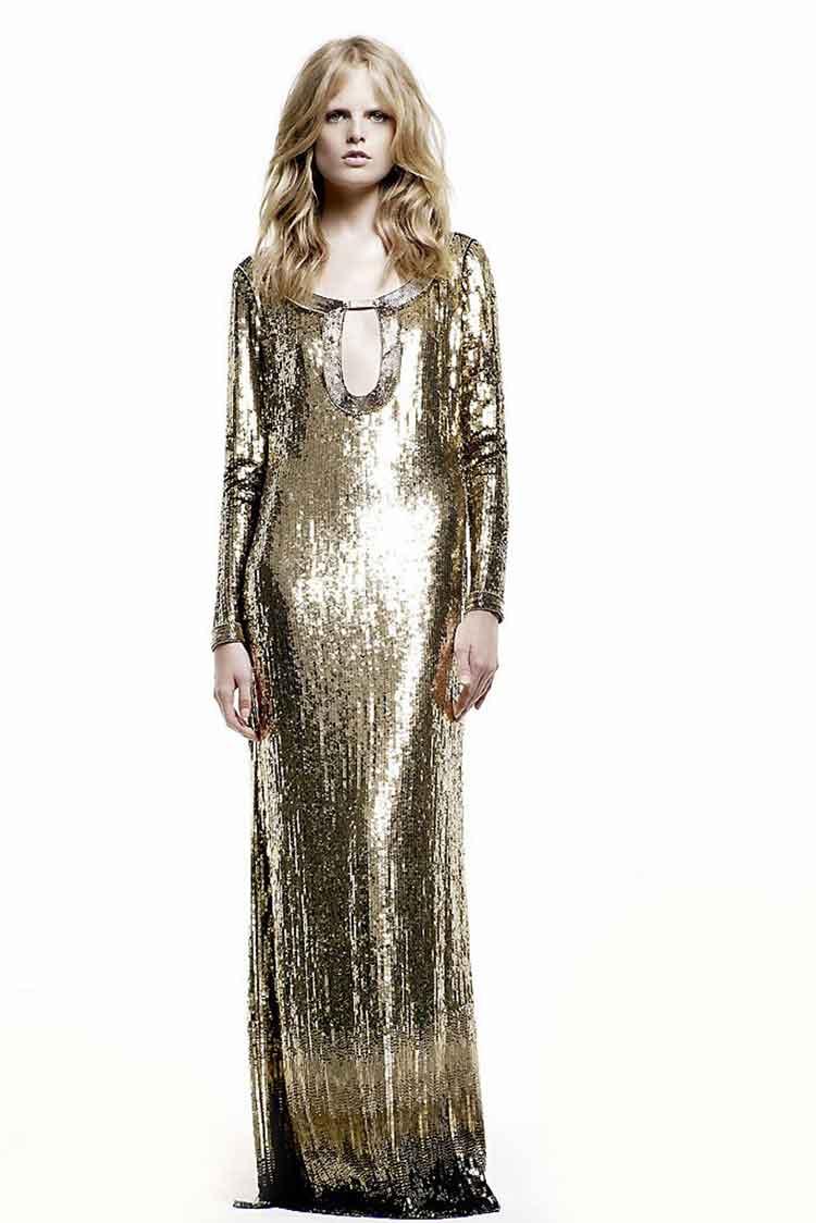Золотистое платье из пайеток