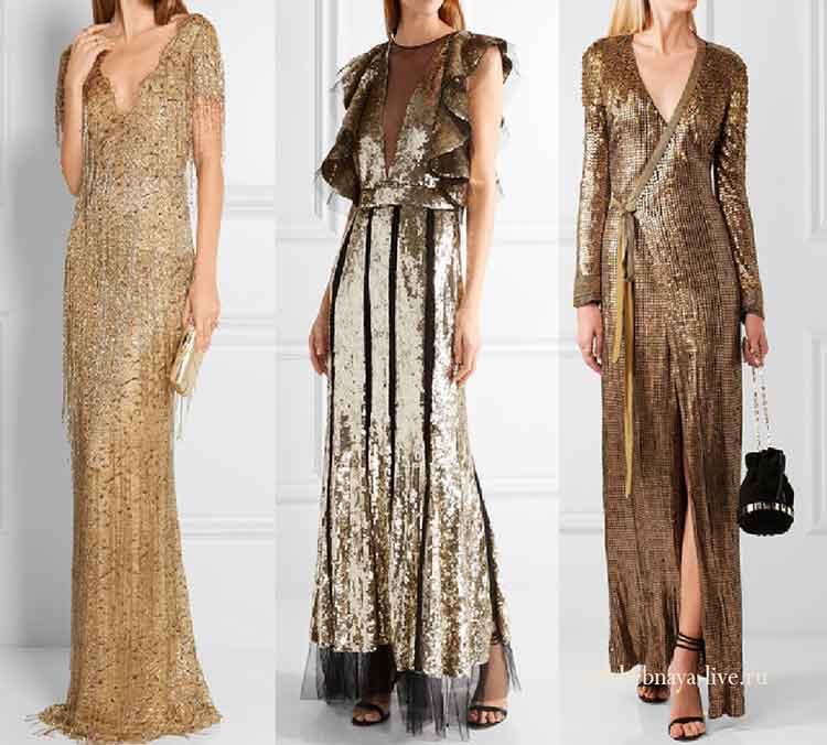 Вечерние золотые платья с пайетками