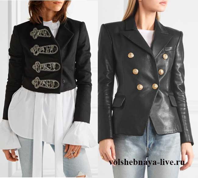 Сочетание черного пиджаки с юбкой из пайеток.
