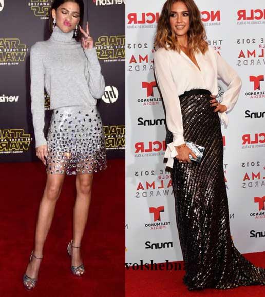 Образы знаменитых актрис в юбках с блестками