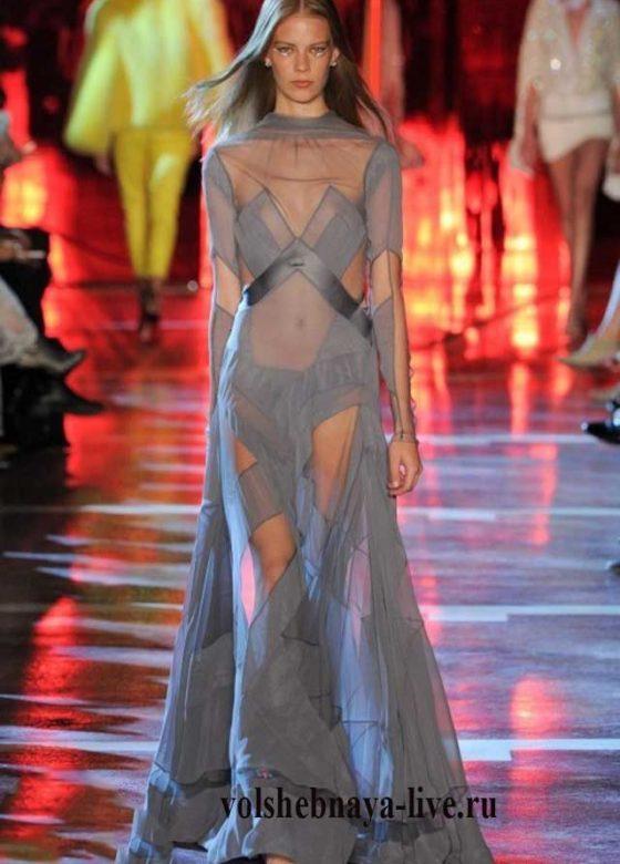 Серое, прозрачное платье Alexandre Vauthie зима 2017