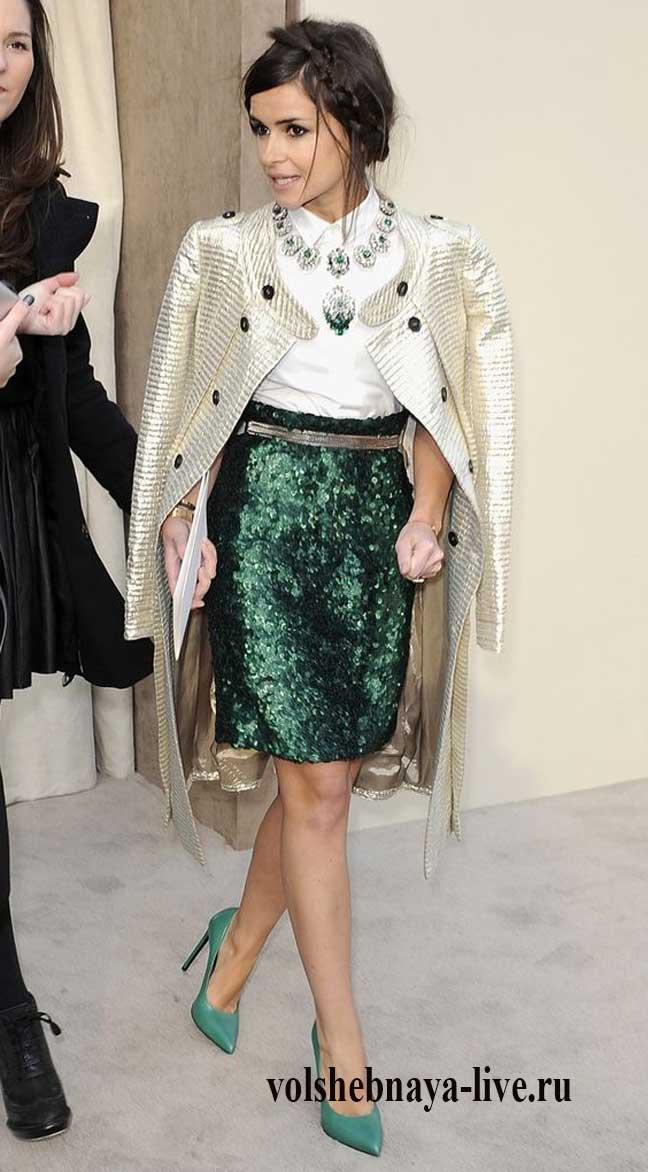 Изумрудная юбка с пайетками