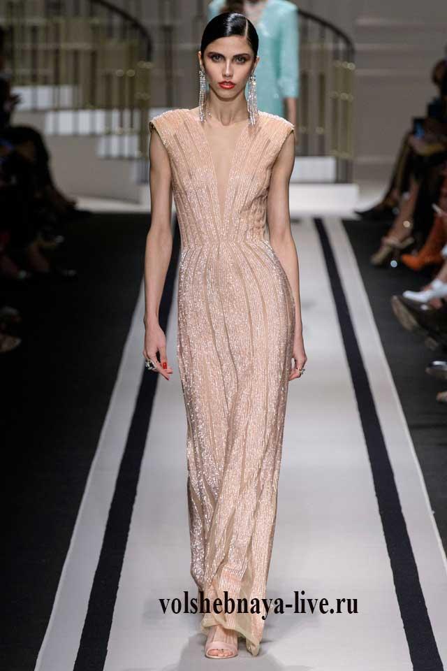 Шикарное платье от Элизабета Франчи бежевого цвета
