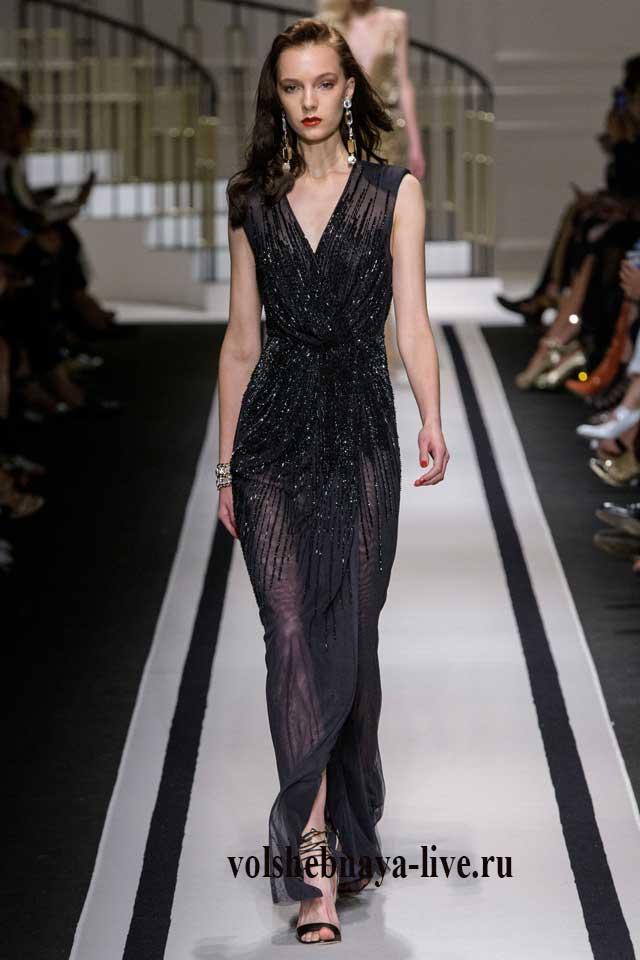 Черное платье в пол, прямого фасона из шифона. Коллекции 2017