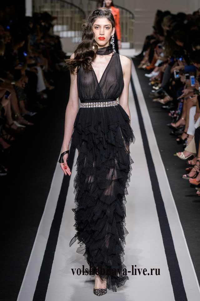 Классическое черное вечернее платье от Итальянского дизайнера показ весна 2017