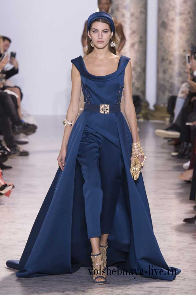 Синий комбинезон Elie Saab Haute Couture 2017