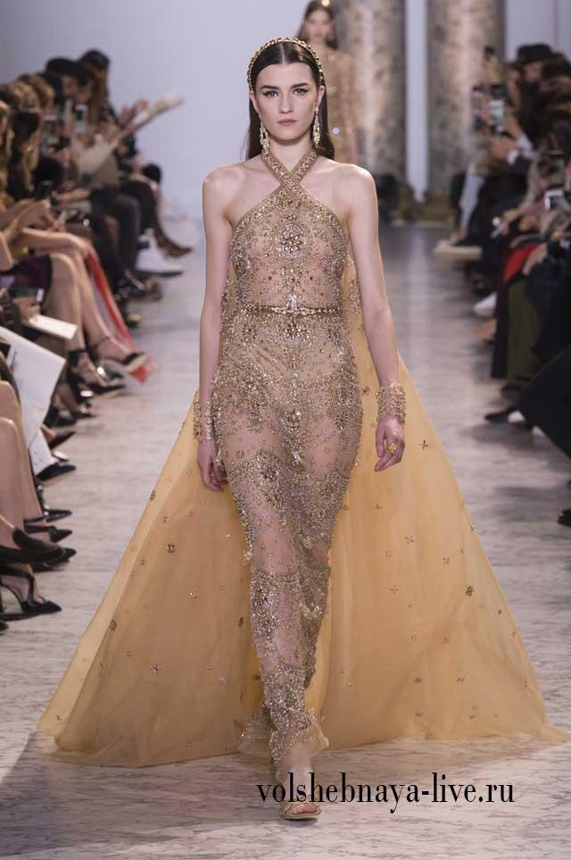 Платье вечернее из золотого изысканного кружева