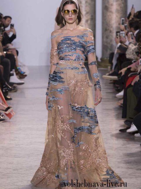Couture Весна-лето 2017 Платье в пол из золотого кружева