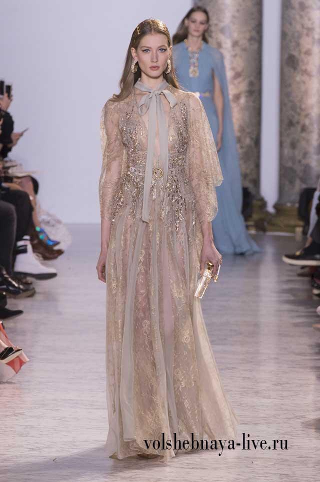 Couture Весна-лето 2017 Платье в пол золотое с серым бантом