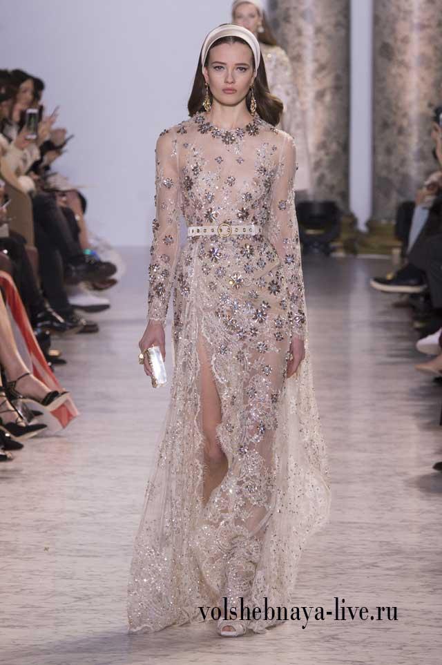 Серое платье расшитое цветами Сааб 2017