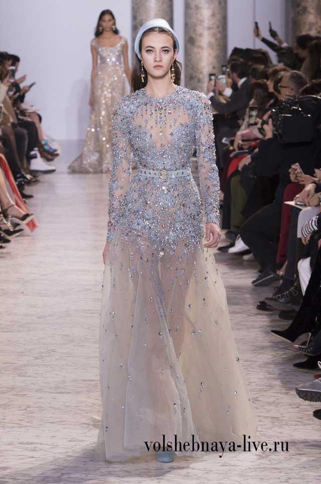Шикарное расшитое стразами, прозрачное платье в пол, пастельного голубого цвета