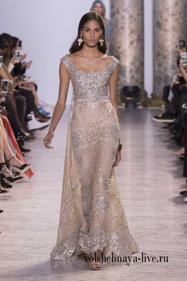 Шикарное расшитое стразами, прозрачное платье в пол, цвета дымки