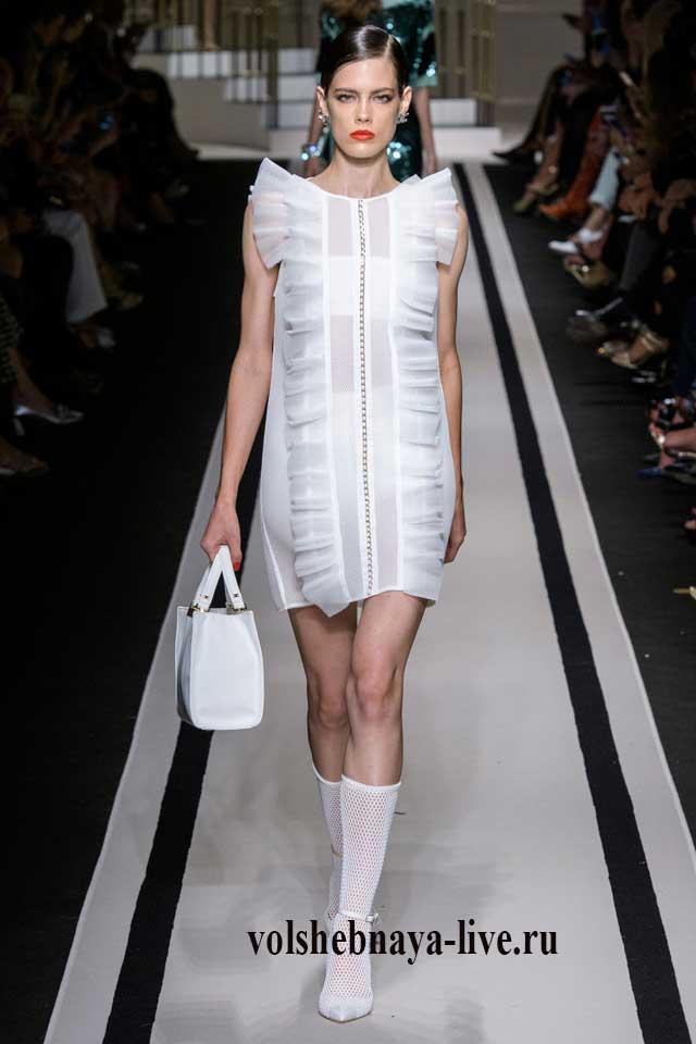 Милое мини платье белого цвета Франчи 2017