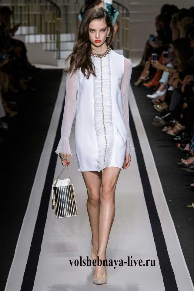 Белое платье с длинным прозрачным рукавом Франчи 2017