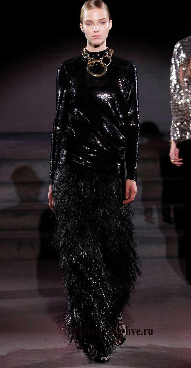Джемпер черного цвета из пайеток и юбка бахрома.
