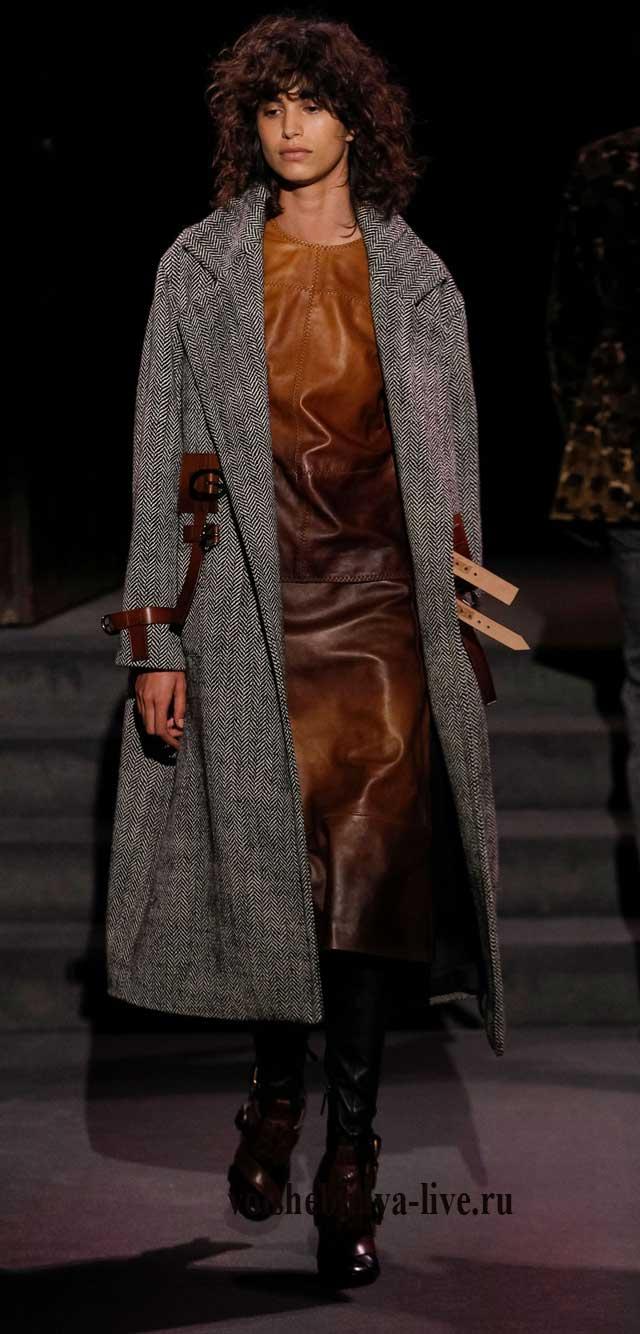 Коричневое, кожаное платье футляр Том Форд