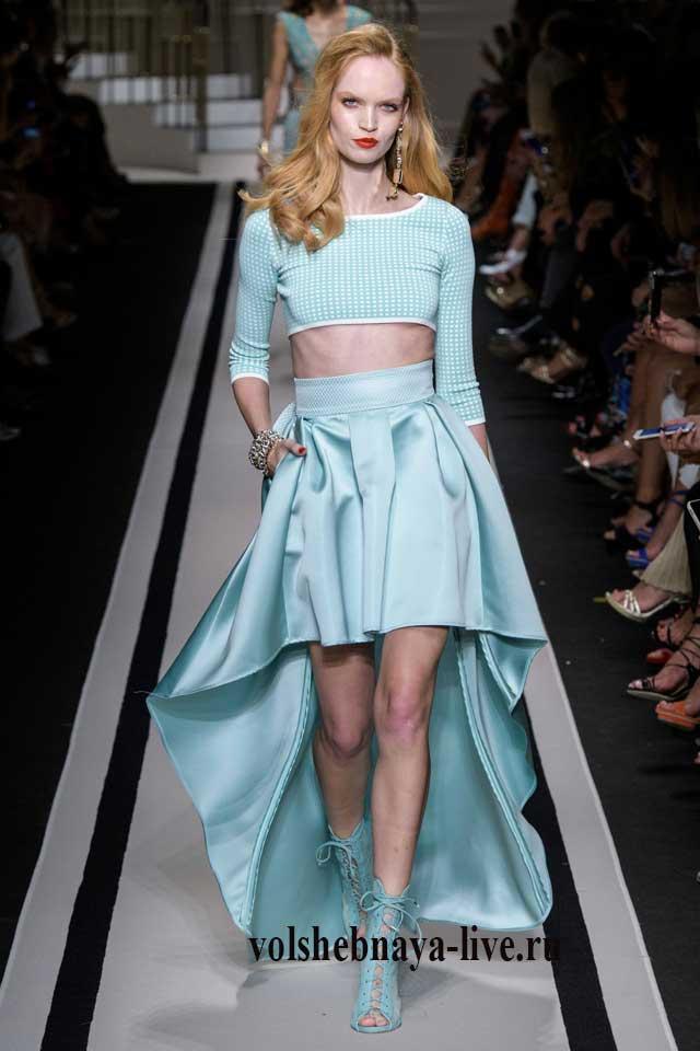 Асимметричная юбка мятного цвета Elisabetta Franchi 2017