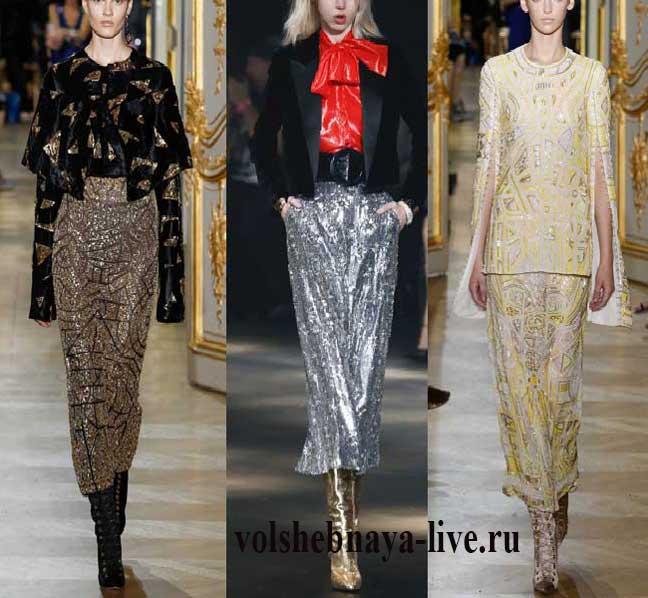 Мода на юбки с пайетками с подиумов.