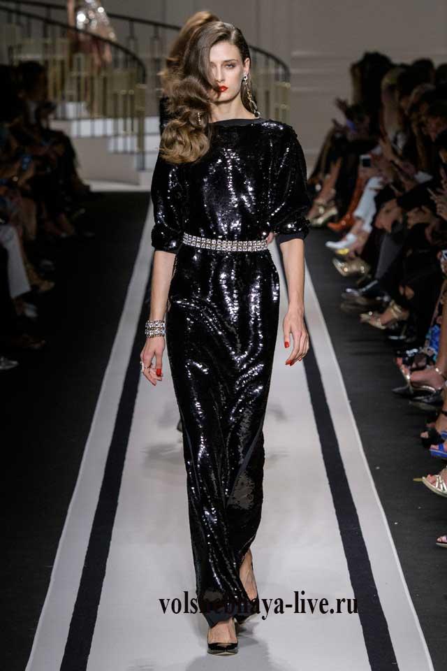 Черное платье из пайеток в стиле диско