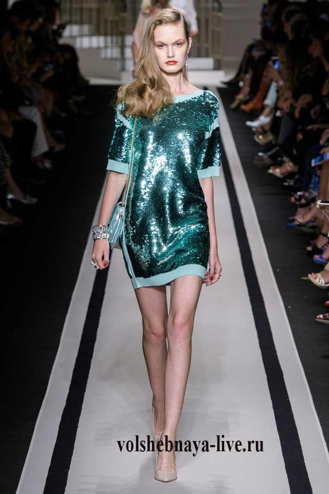 Платье мини бирюзовое из пайеток ELISABETTA FRANCHI