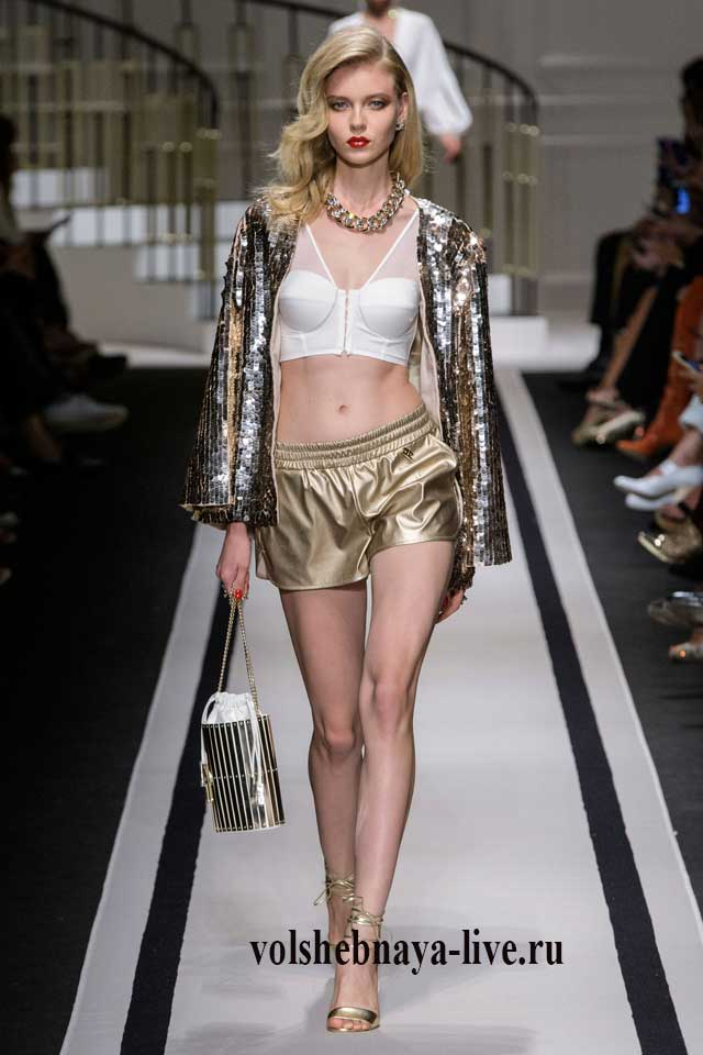 Золотые кожаные шортики с пиджаком из паеток