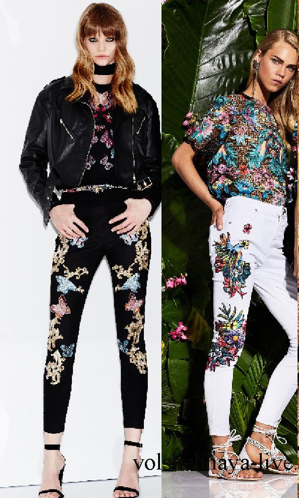 Обтягивающие черные джинсы с вышивкой под кожаную куртку