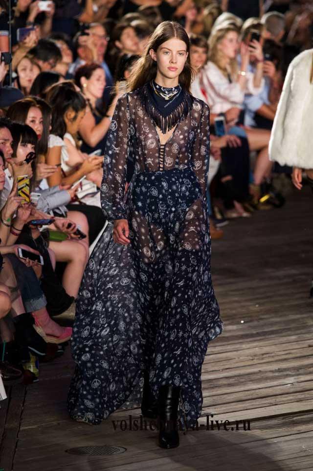 Синее платье из шифона Tommy Hilfiger fashion show fall 2016