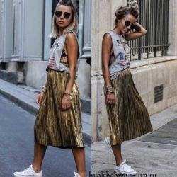 Плиссированная юбка в пайетках с чем носить