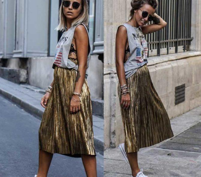 Что одеть с золотой плиссированной юбкой миди