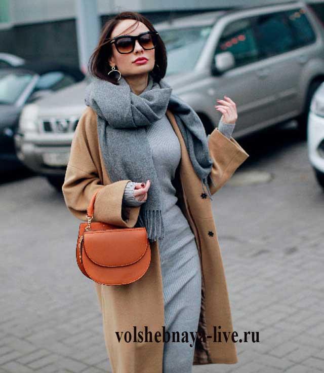 Серое платье футляр с каким пальто носить
